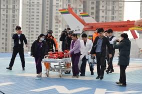 베스티안병원, 의료진 동승 헬기 화상환자 이송 훈련